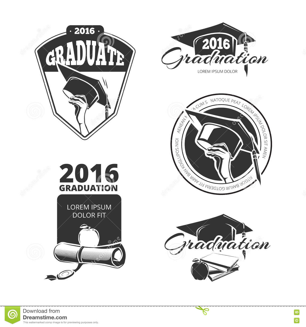Design t shirt class - Graduating Class Vector Badges Emblems T Shirt Design Stock Vector