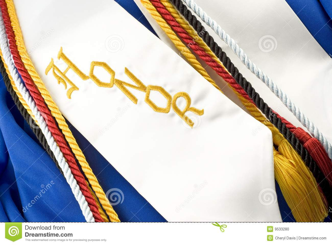 blue graduation gown with cords and the word Honors, horizontal full ...