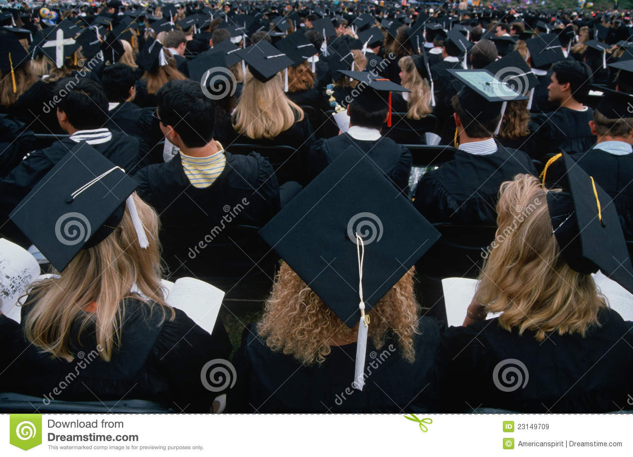 Graduating Students In Cap And Gowns Editorial Stock Image Image