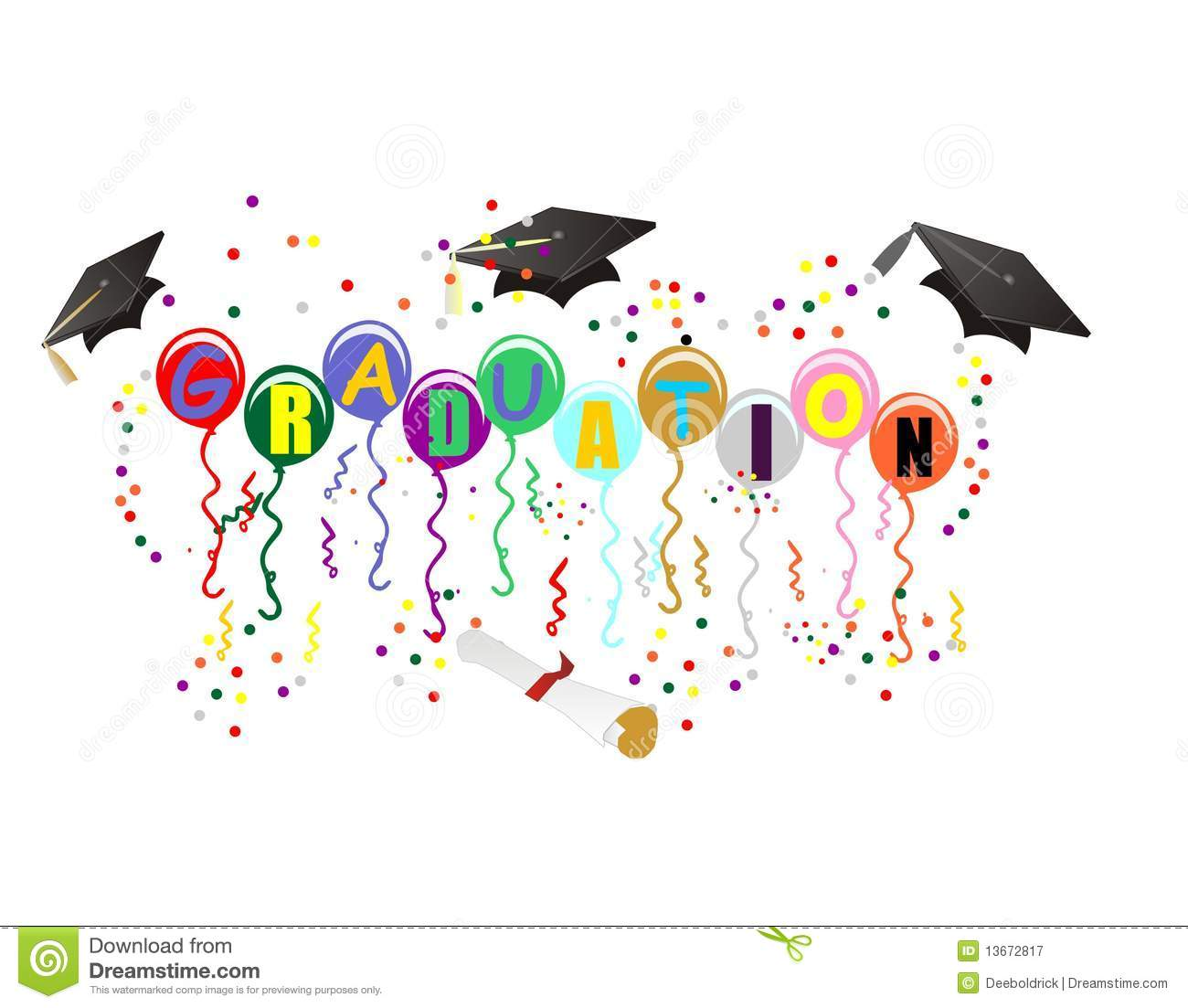 Graduation Ballons For Celebration Illustration Royalty Free Stock ...