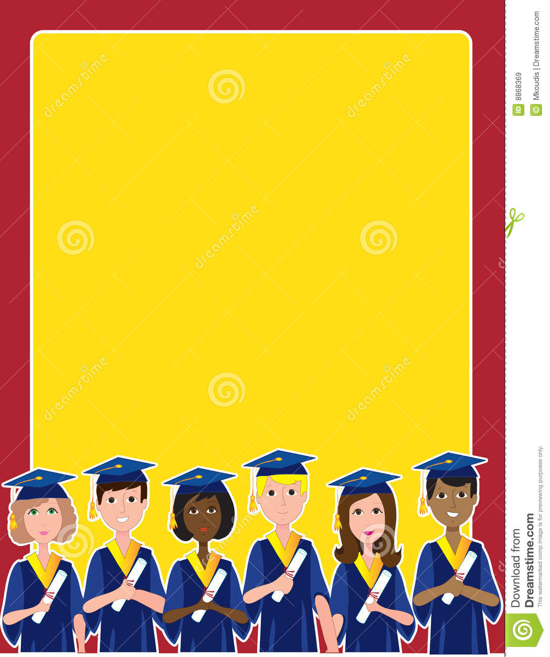group of graduates with diplomas at the bottom of a frame or border.