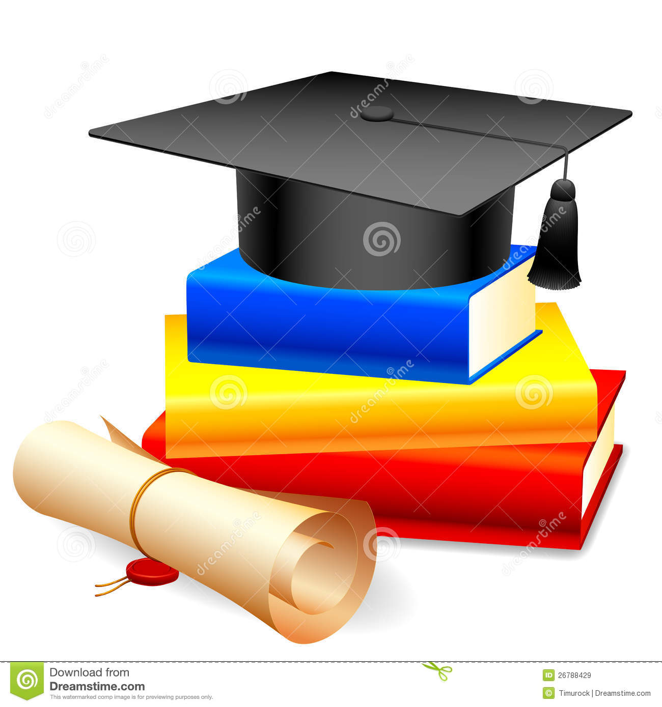 graduation cap and books stock vector illustration of achievement