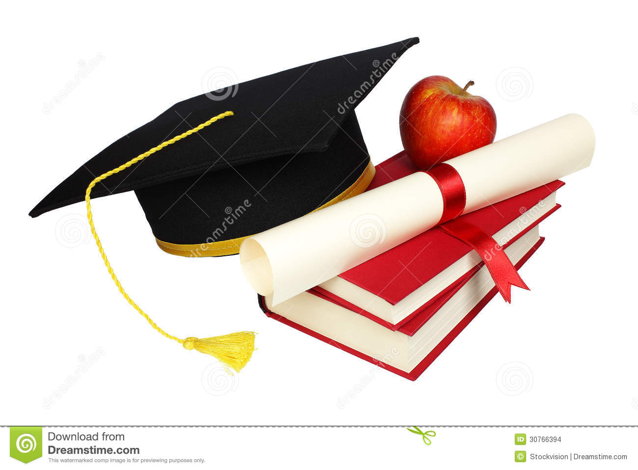 graduation cap with books and diploma stock photo 30766394 megapixl