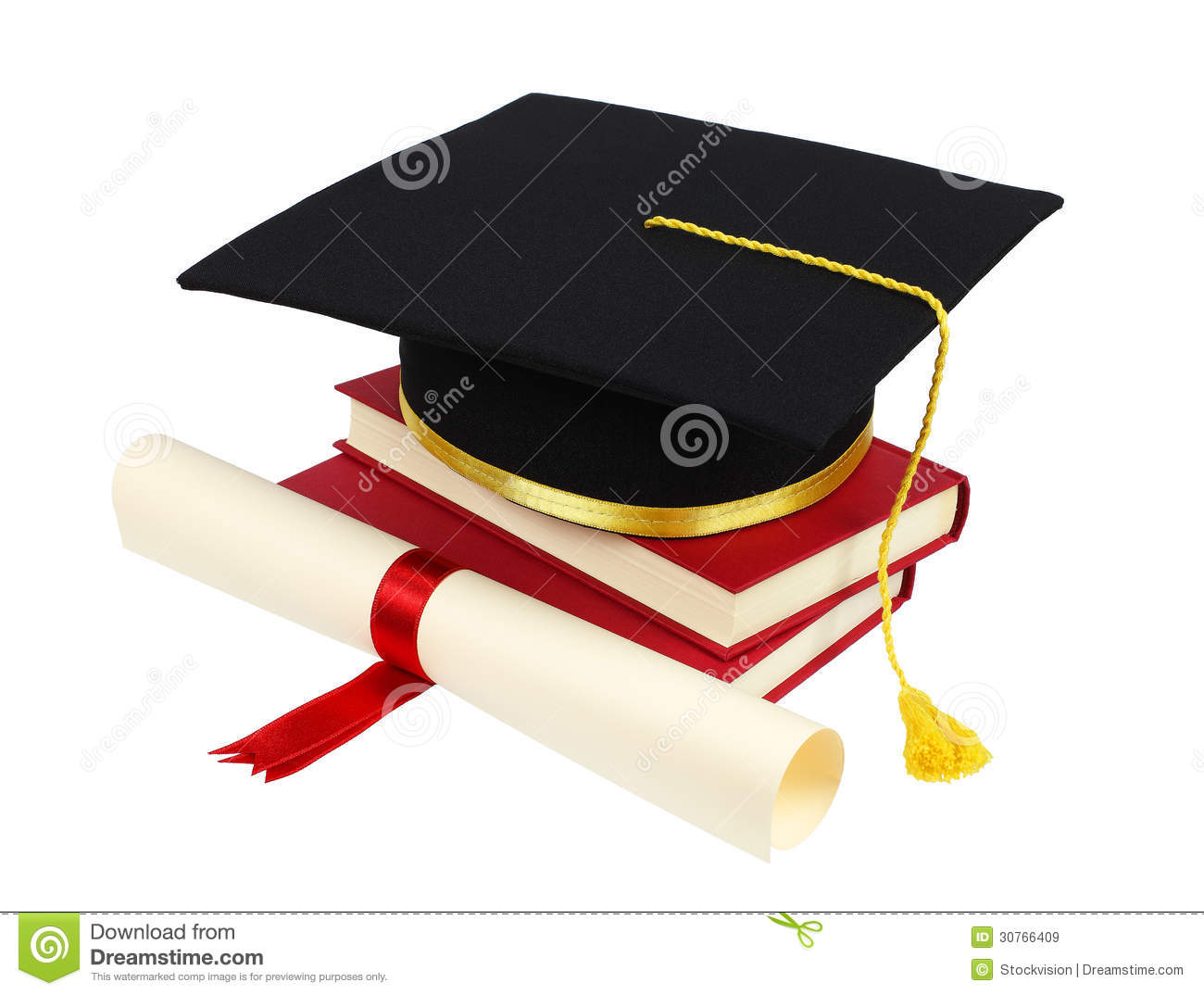 Graduation Cap With Books And Diploma Royalty Free Stock