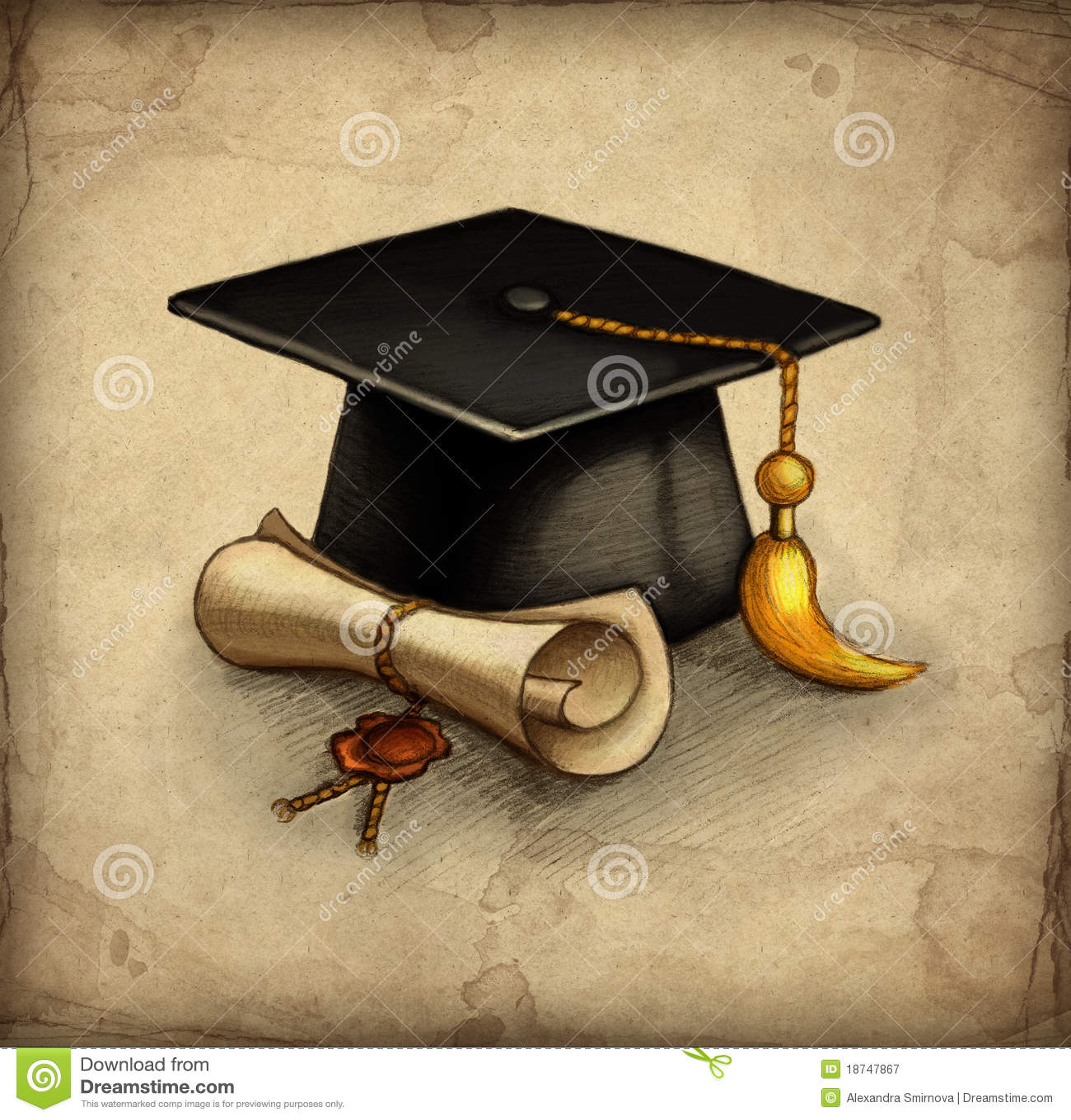 Pencil Paper Icon Graduation Cap And Dip...