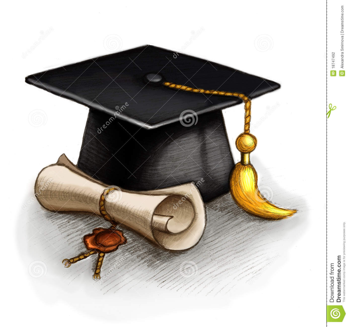 Graduation Cap And Diploma Stock Photography  Image: 18747492