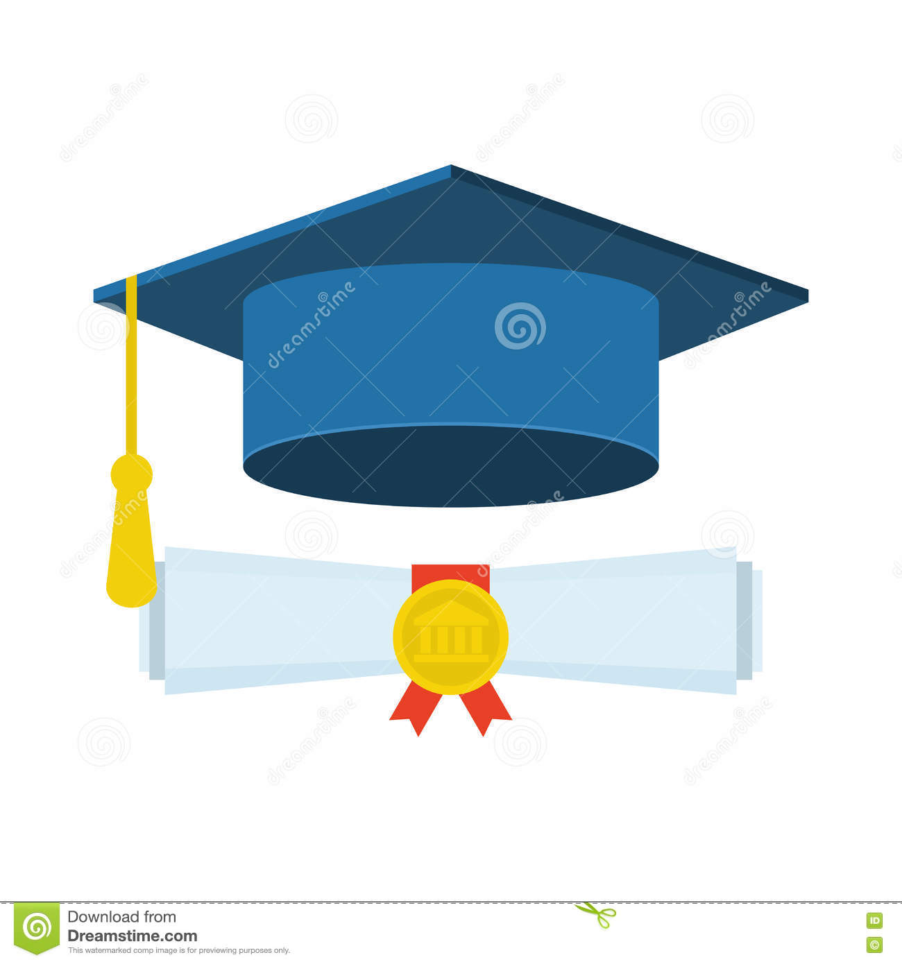 b894d6b10e0 Graduation Cap And Diploma. Flat Icon On White Background. Stock ...