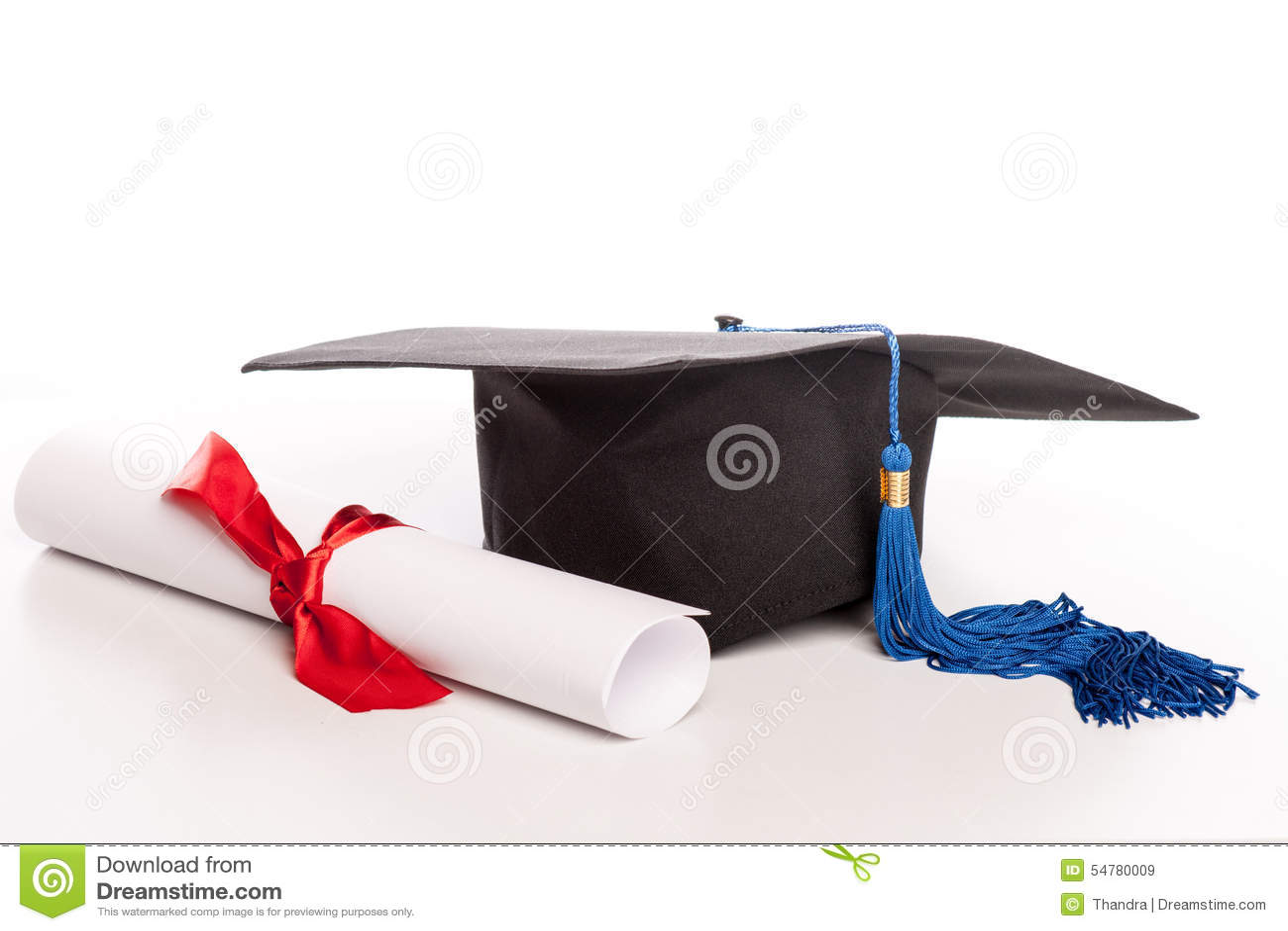 Graduation Cap And Diploma Stock Photo - Image: 54780009