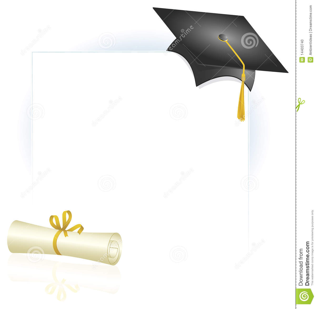 Graduation Cap And Diploma Page Layout Stock Photo Image
