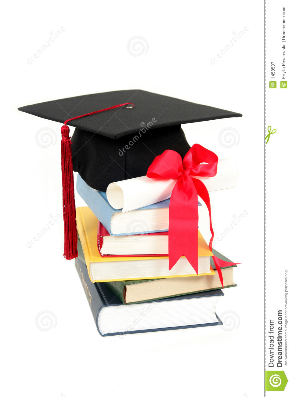 graduation cap and diploma on stack of books stock photo 1458537 megapixl