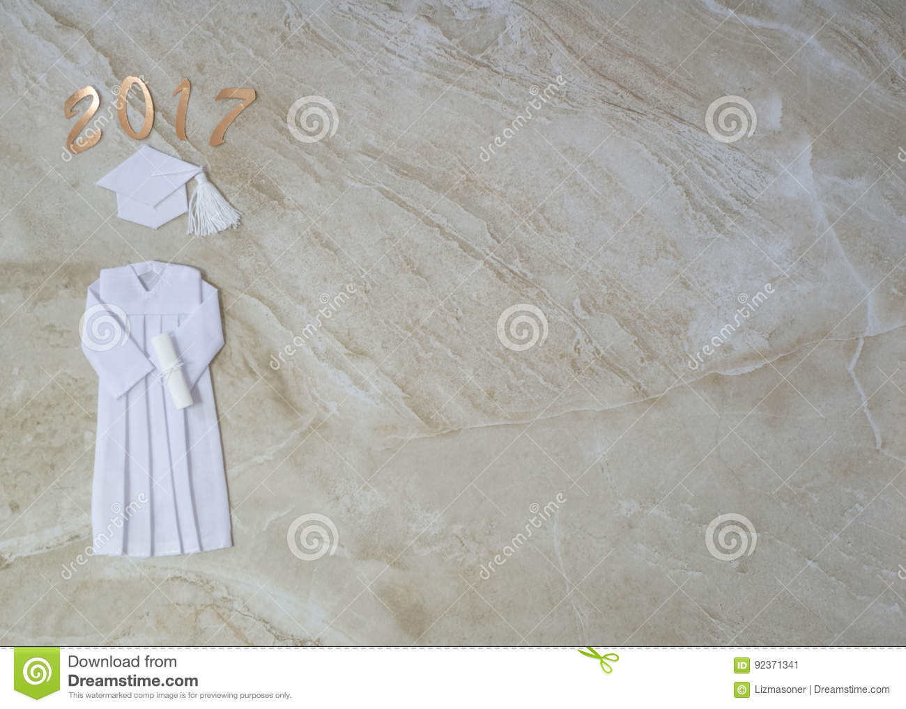 2017 Graduation Cap And Gown Stock Image - Image of white, year ...