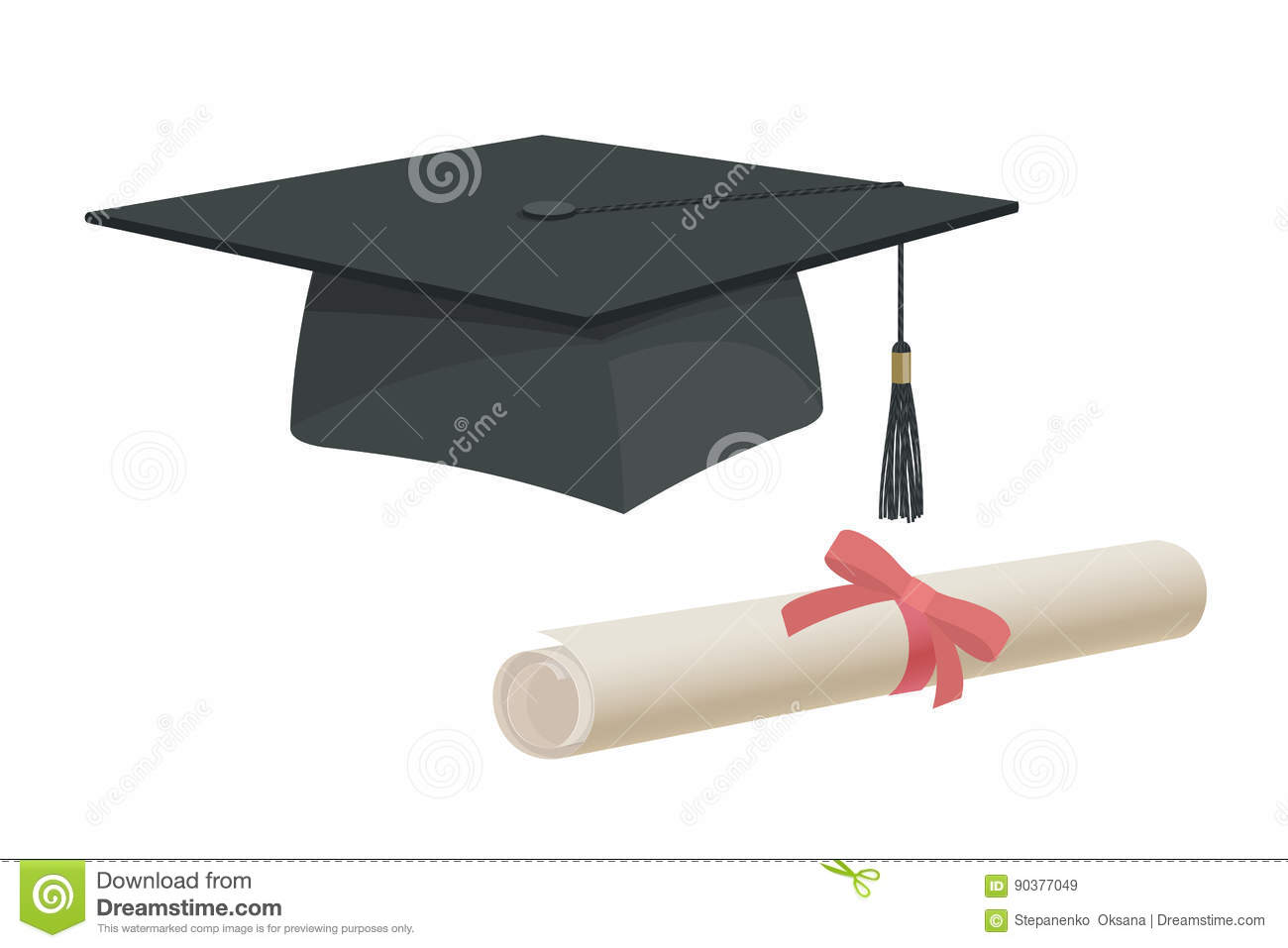 Graduation cap hat and certificate university academy diploma college bachelor prom icon element flat cartoon design