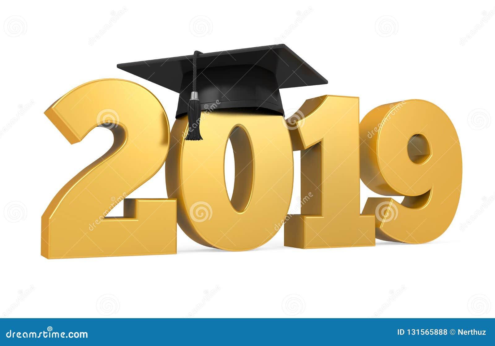 2019 Graduation Cap Isolated Stock Illustration ...