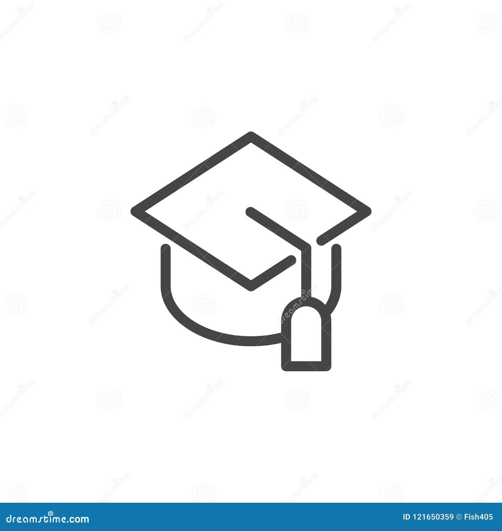 Graduation Cap Line Icon Students Hat Pictograph Symbol Of