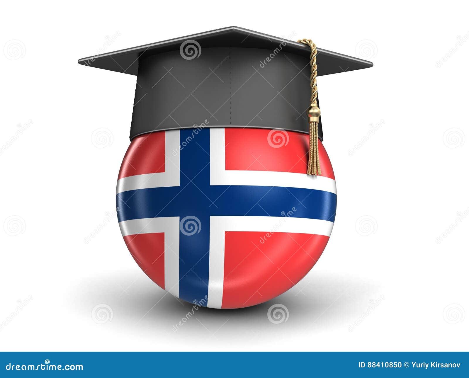 graduation cap and norwegian flag stock illustration image 88410850