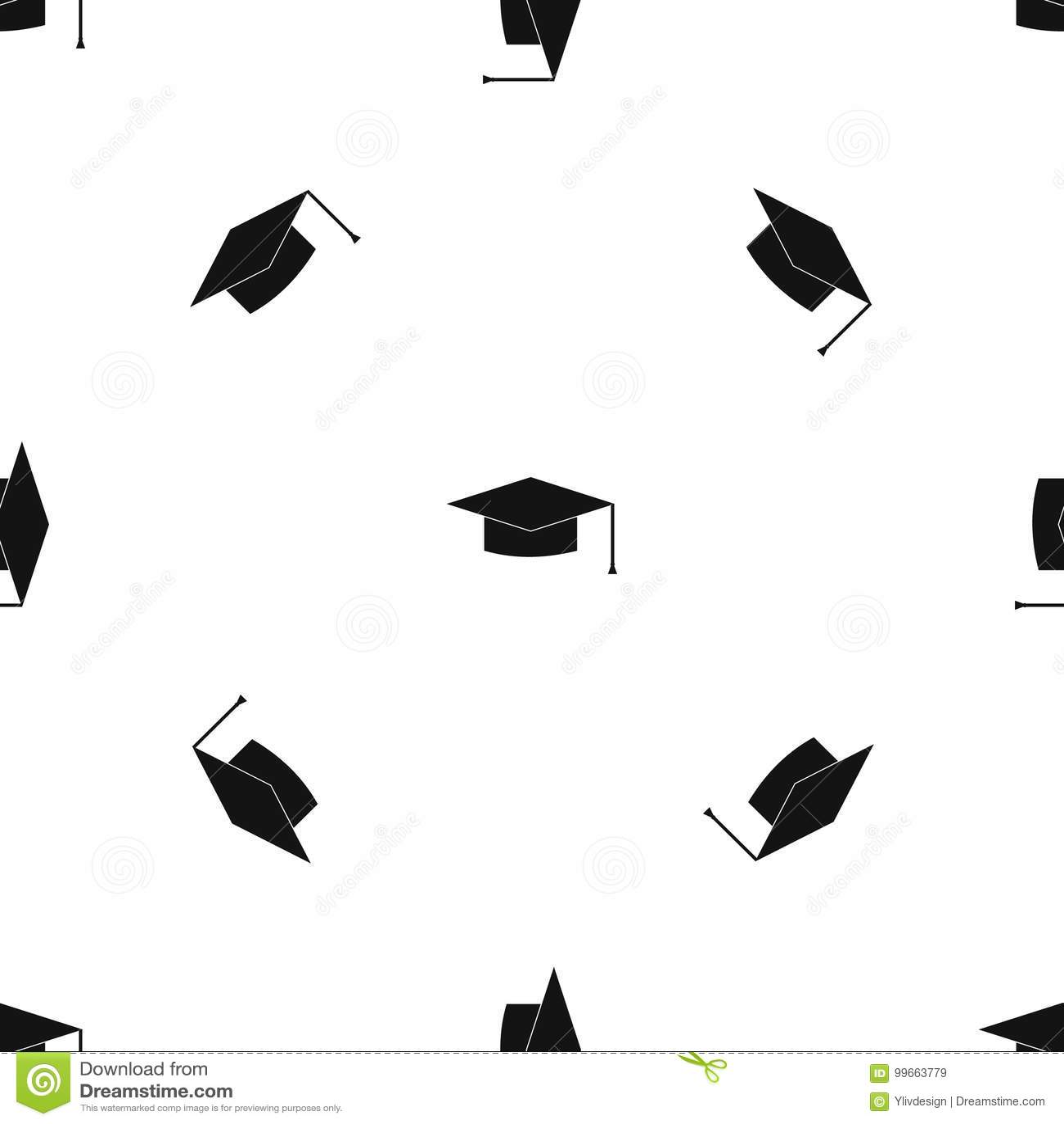 graduation cap pattern seamless black stock vector illustration of