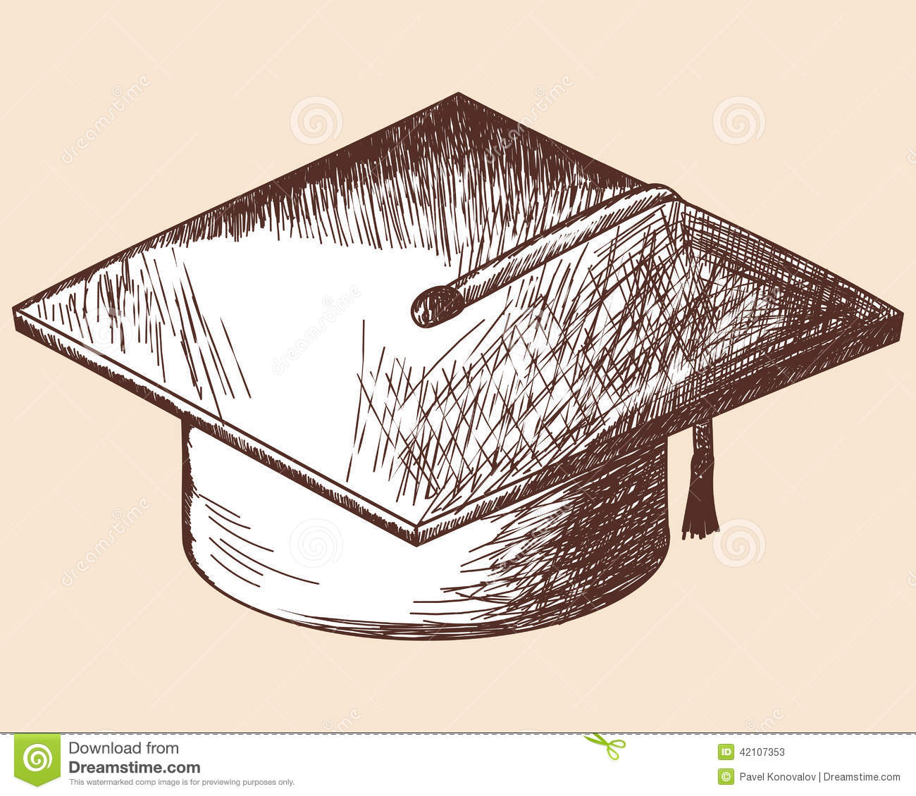 Graduation cap sketch. EPS 10 vector illustration without transparency ...