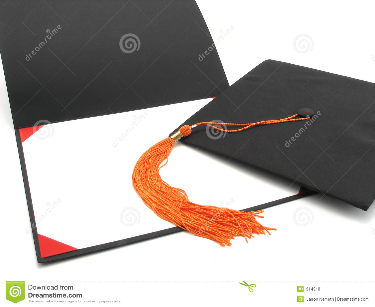 Graduation Cap Tassel And Empty Diploma Frame Stock Photo Image