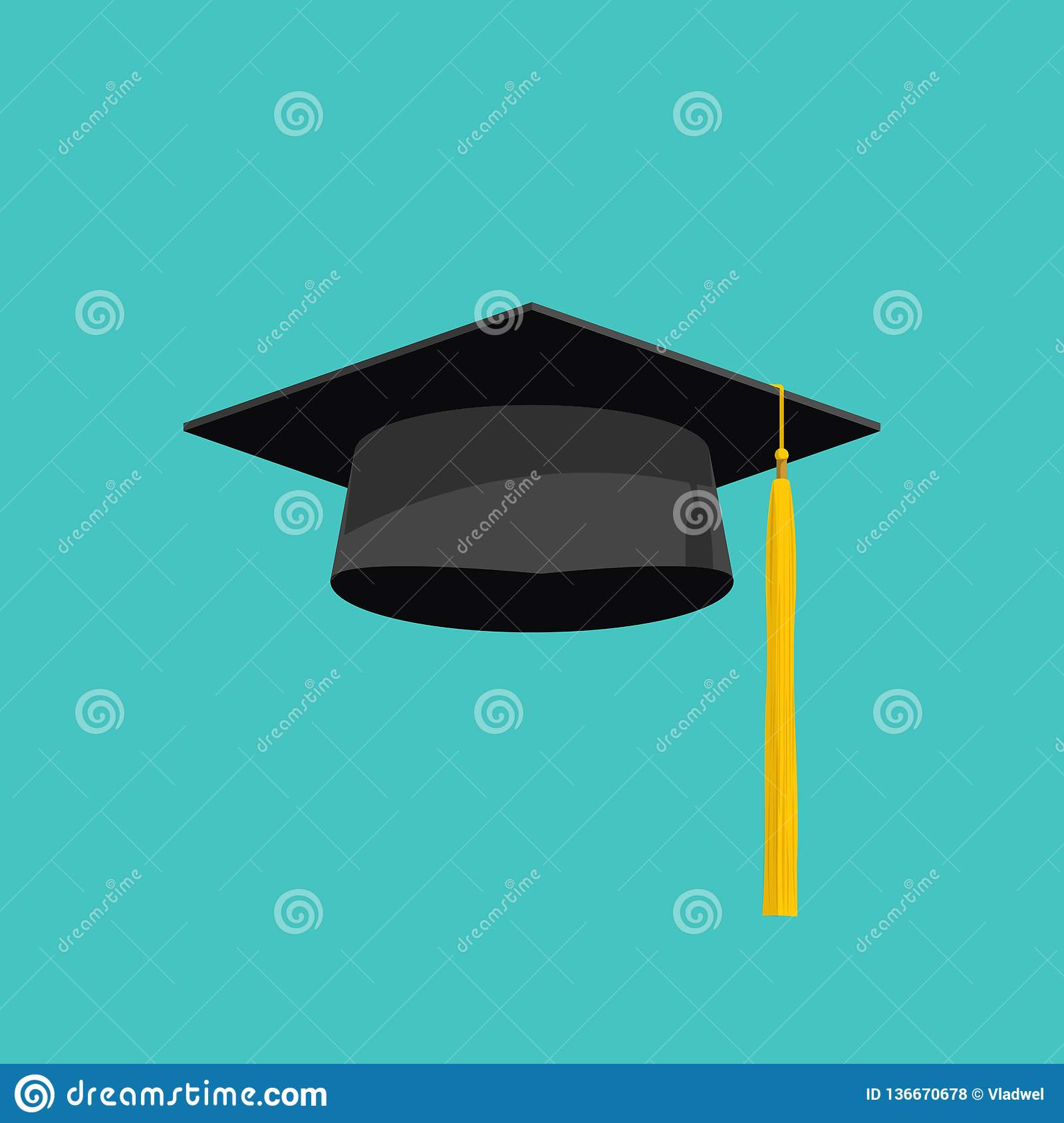 Graduation Cap Vector Isolated On Blue Background ...