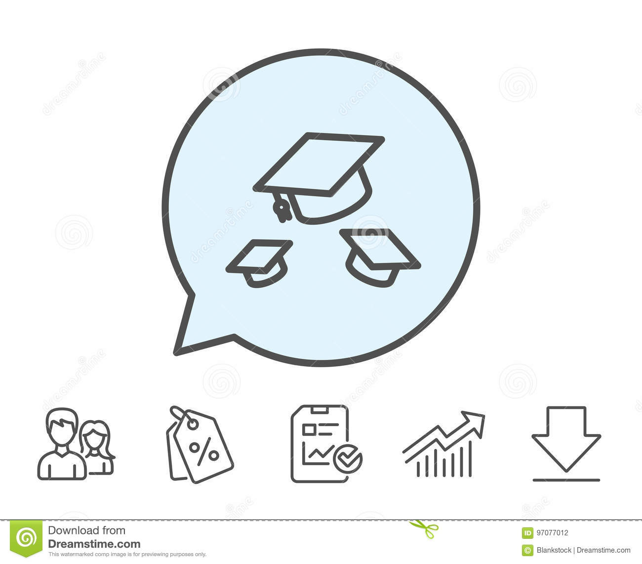 Graduation caps line icon. Education sign.