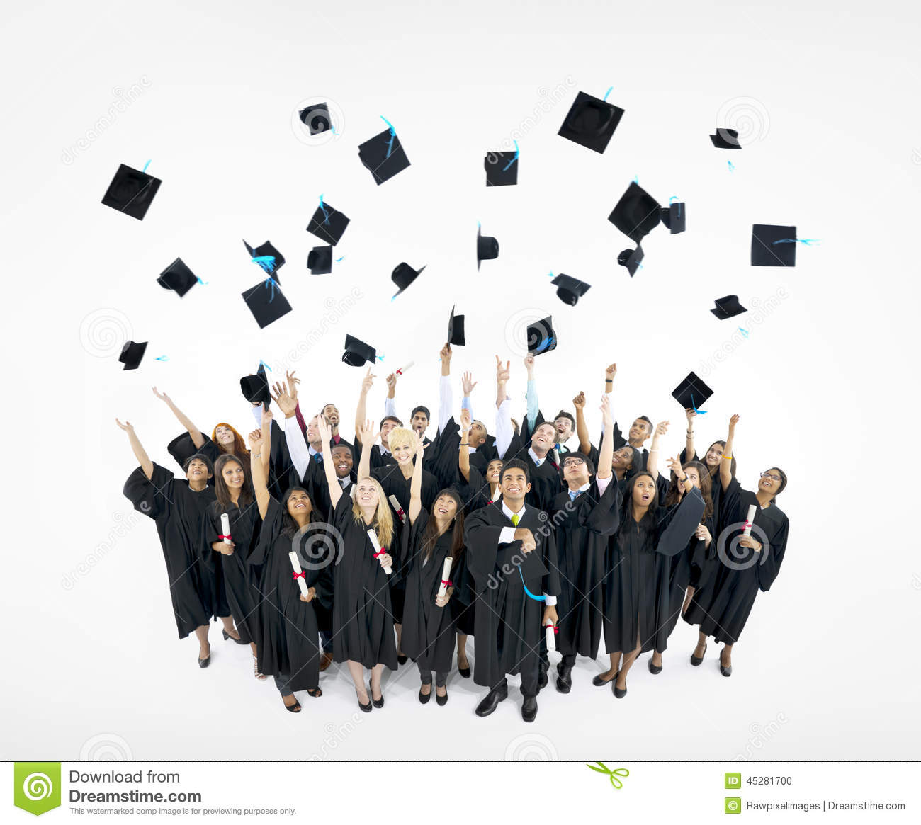 Graduation Caps Thrown In The Air Stock Photo - Image ...