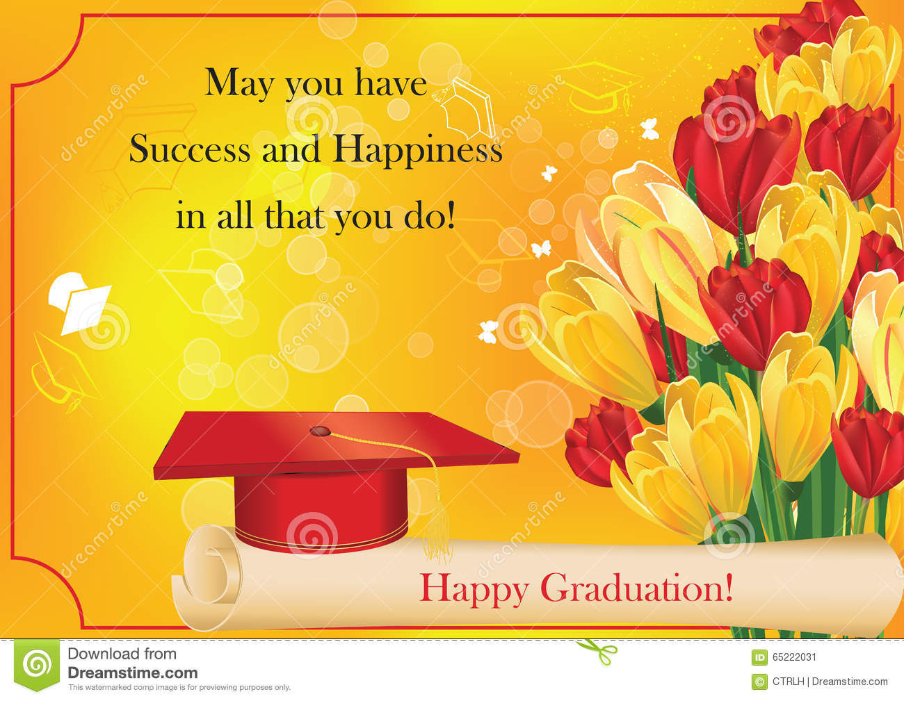 Graduation card with cap diploma crocus and tulips stock image graduation card with cap diploma crocus and tulips kristyandbryce Gallery