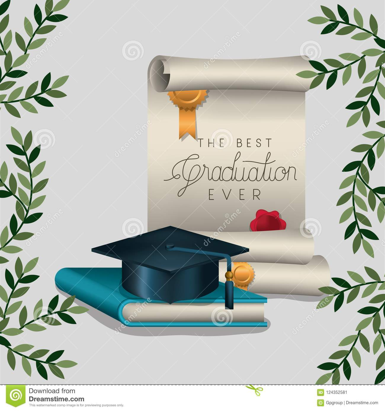 graduation card with diploma and hat