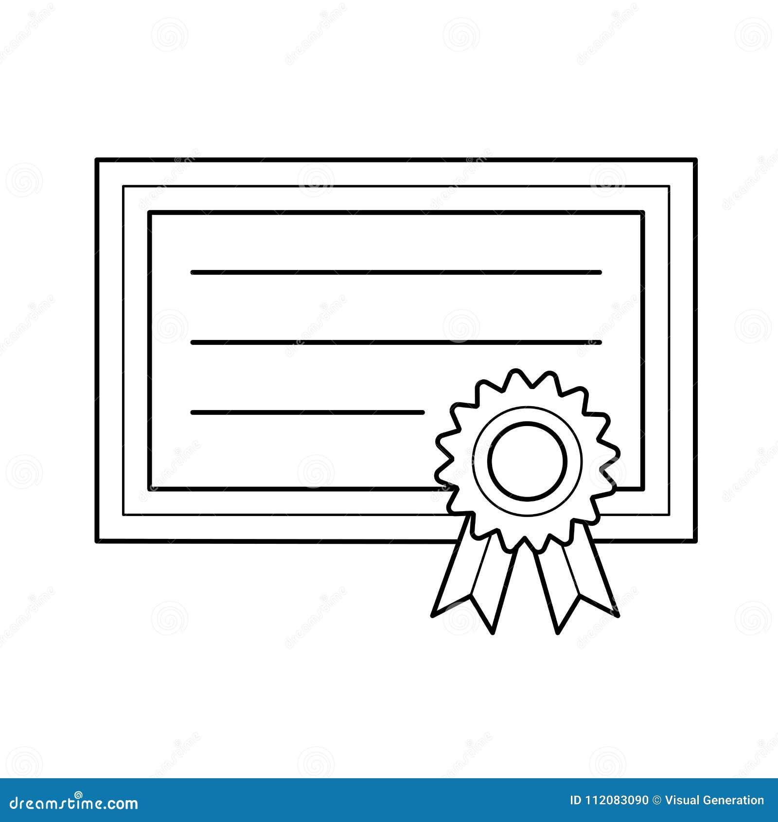 Graduation Certificate Vector Line Icon Stock Vector Illustration
