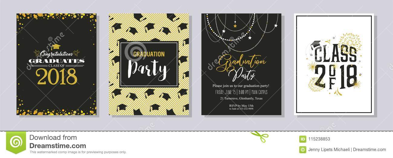 Graduation Class Of 2018 Greeting Card And Invitation Template Set