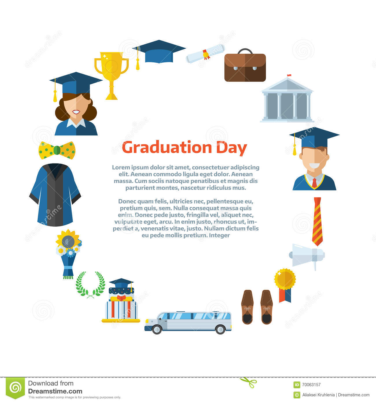 Graduation Day Certification Ceremony Template Stock Vector