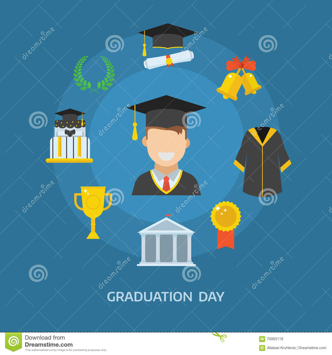 Graduation Day Certification Ceremony Vector Icons Stock ...