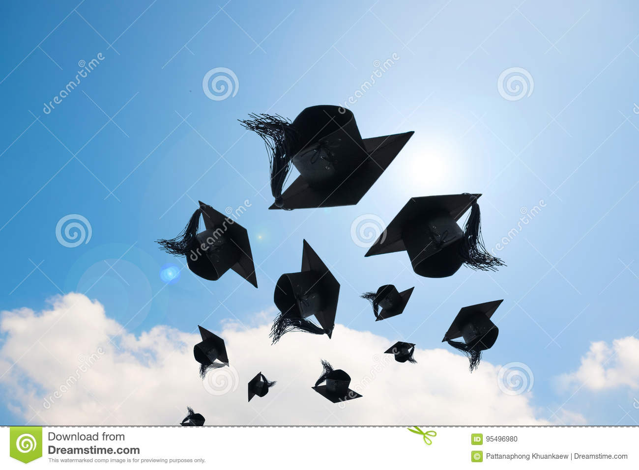 Graduation day, Images of graduation Caps or hat throwing in the