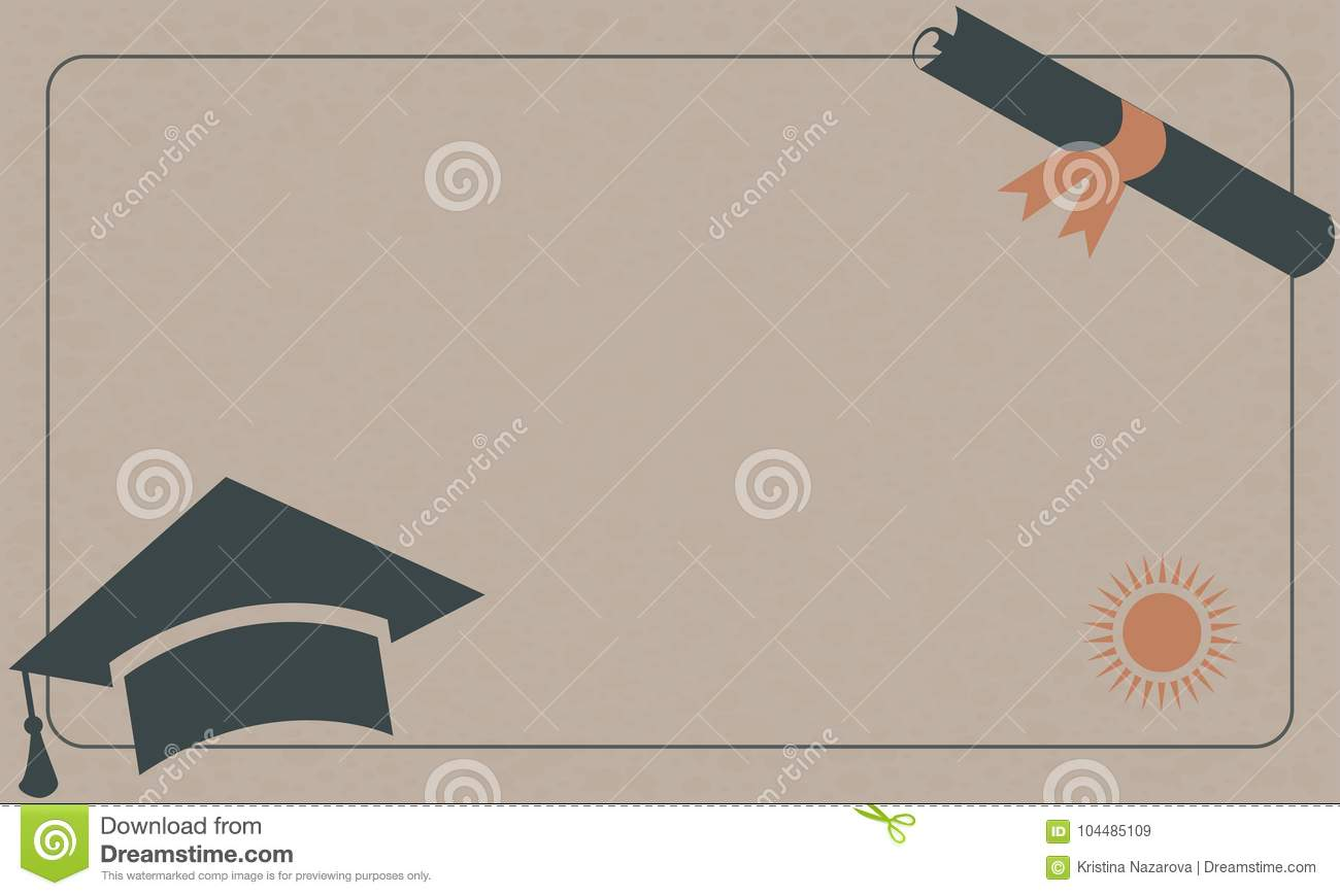 graduation diploma and cap on paper background retro style stock