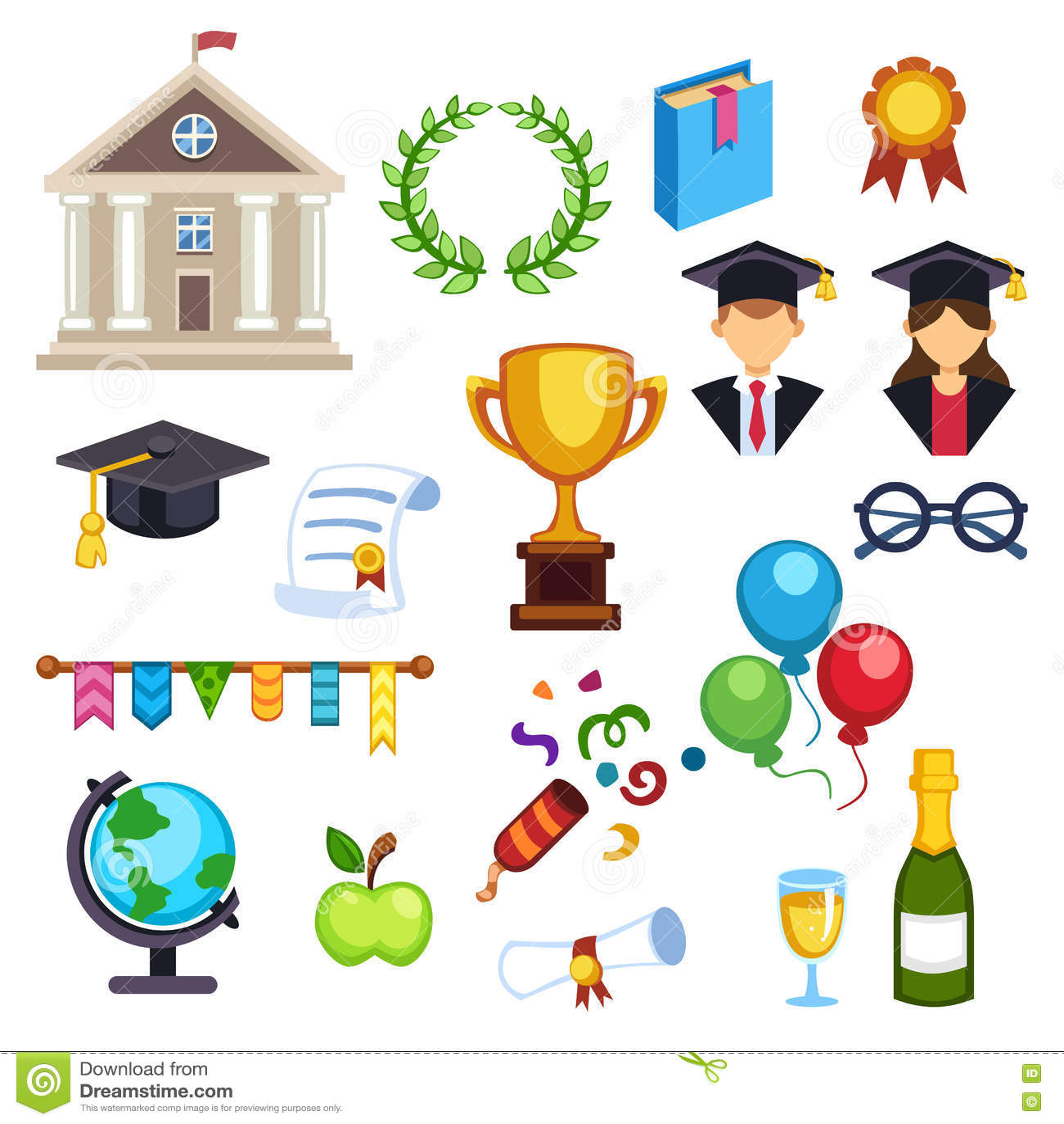 Graduation Education Symbols Stock Illustration Illustration Of