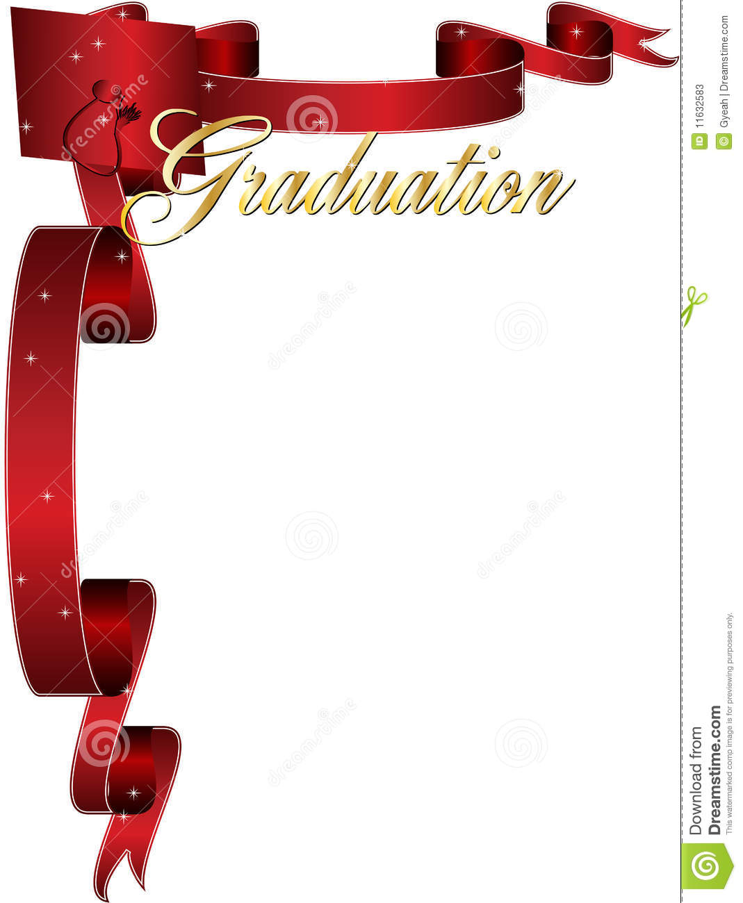 Happy graduation frame border with red