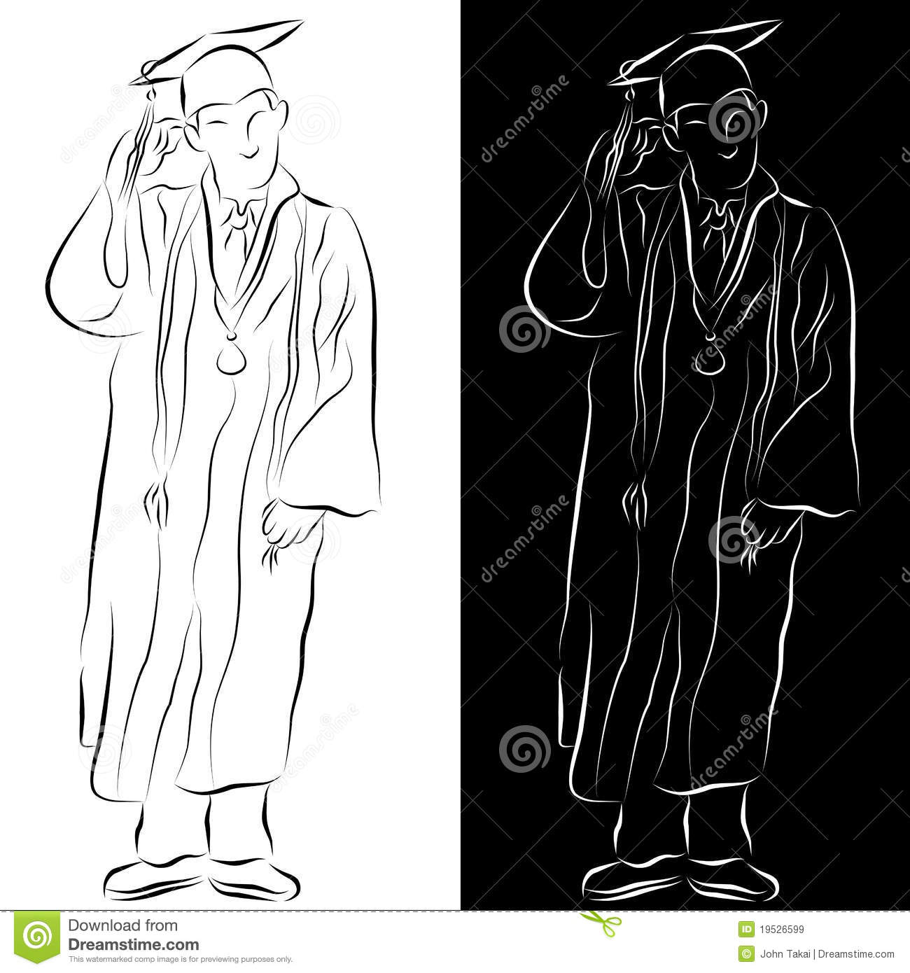 Pics photos how to draw a graduation hat -  Graduation Gown Line Drawing Royalty Free Stock Images
