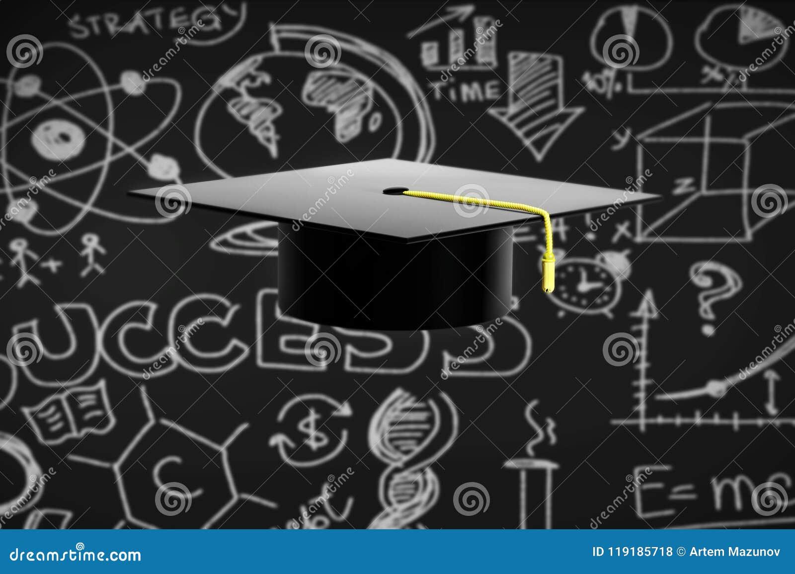 graduation hat on black chalkboard background stock illustration
