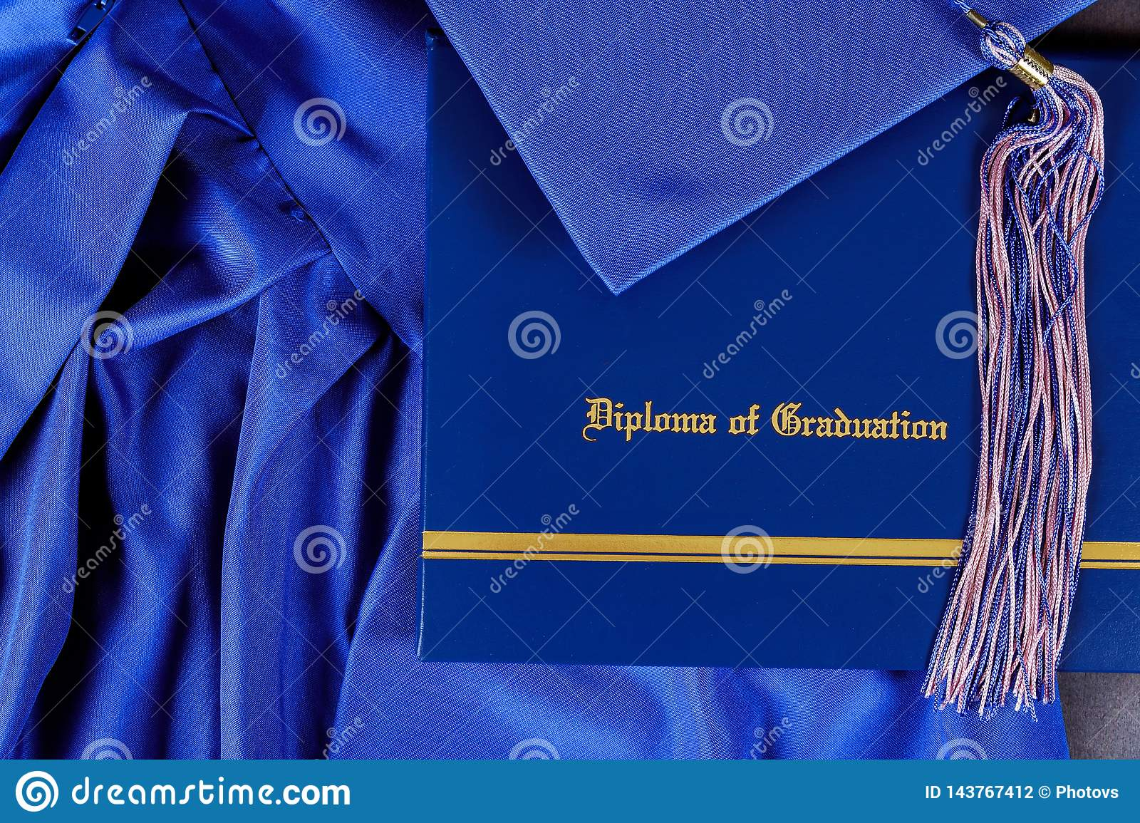 Graduation hat and diploma certificate front view