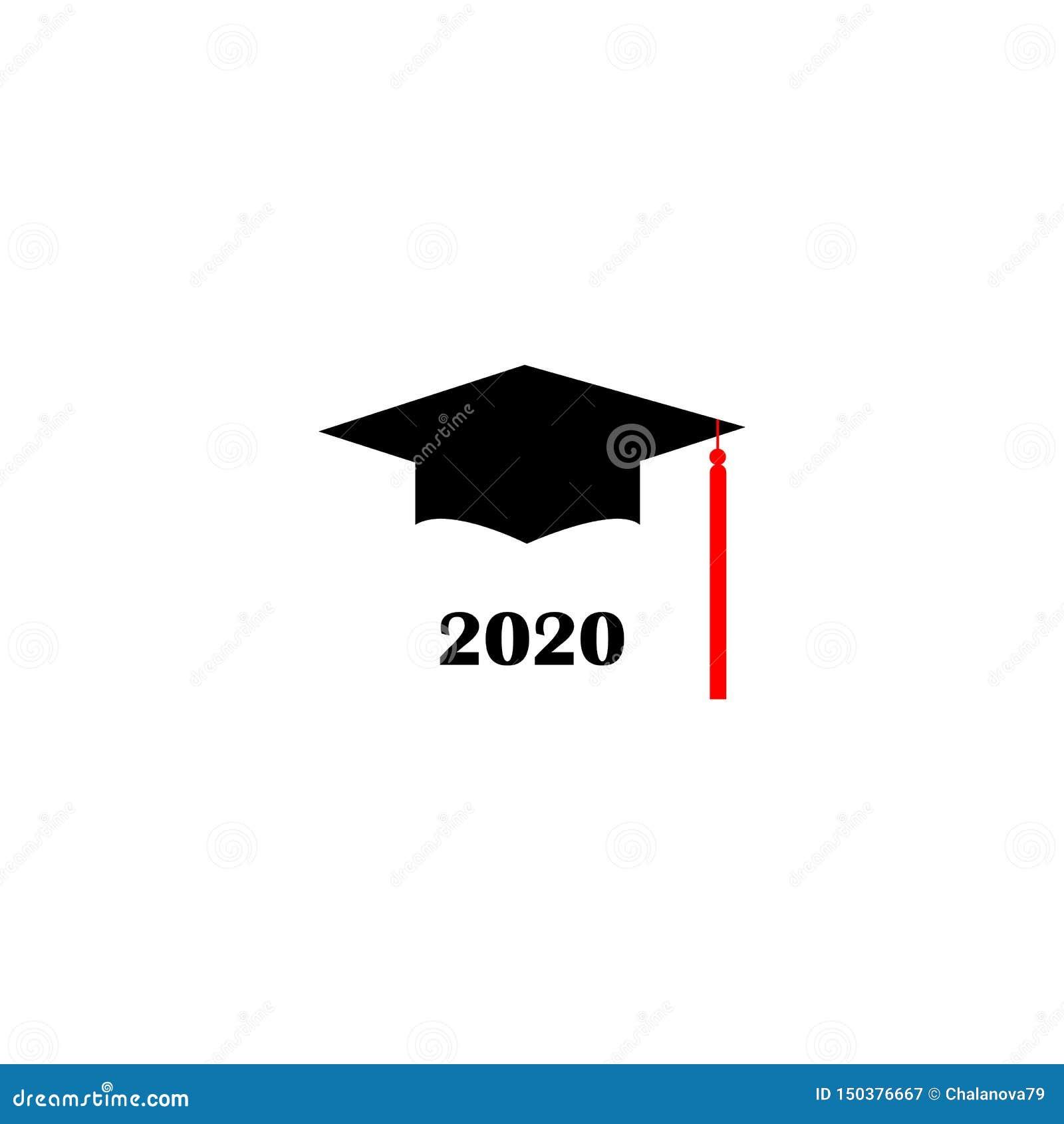 Graduation Hat 2020.Graduation Hat Logo Template Design Elements 2020 Vector