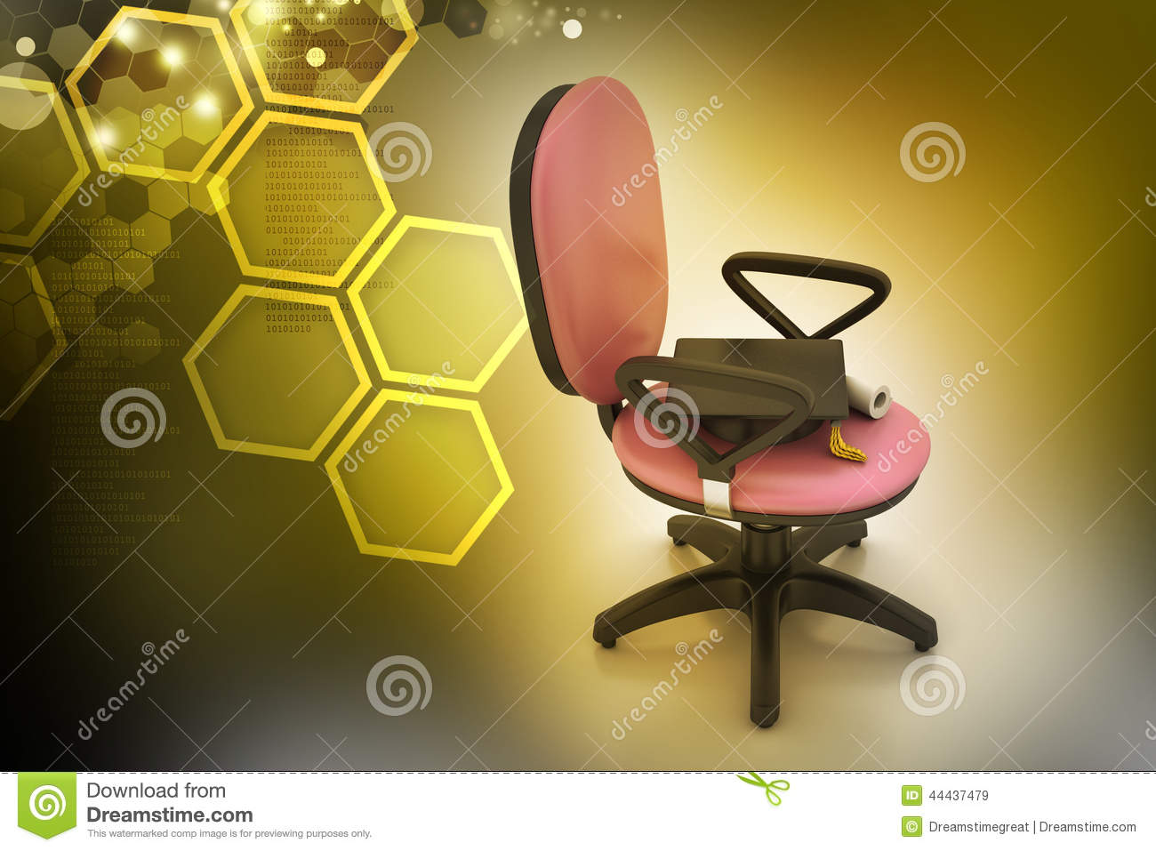 Graduation Hat In Office Chair Stock Photo Image 44437479