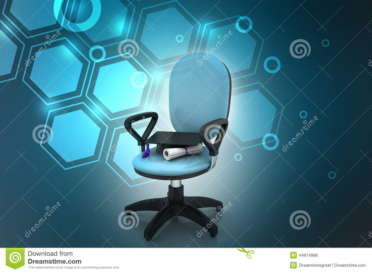 Graduation Hat In Office Chair Stock Photo Image 44614986