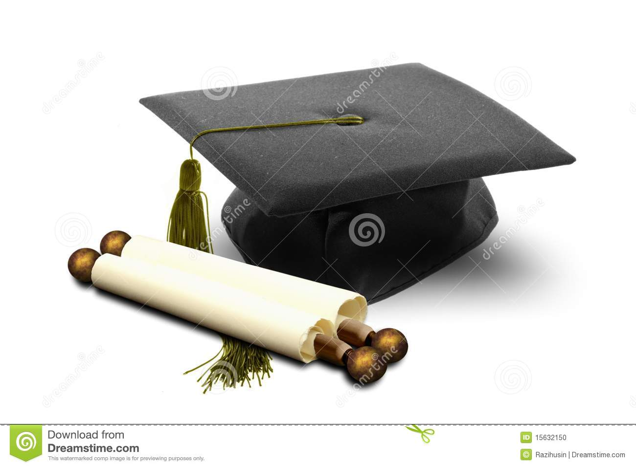 graduation hat and scroll stock photo image 15632150