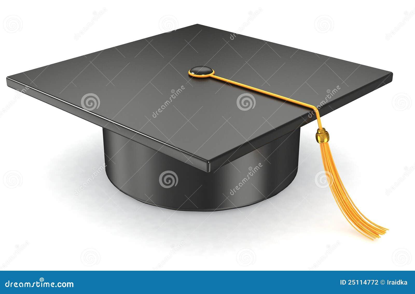 Graduation Hat On White Background Stock Photography