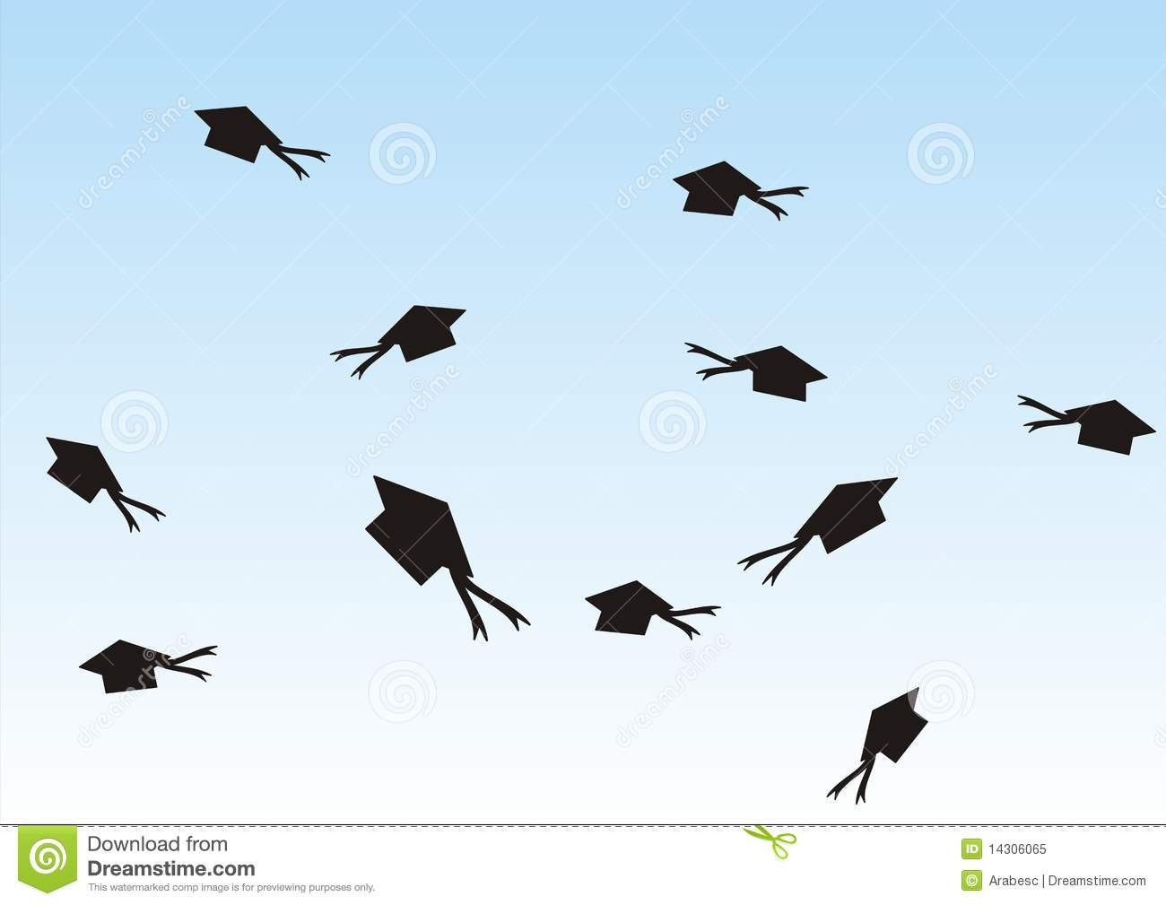 Graduation hats in the air stock vector. Illustration of ...