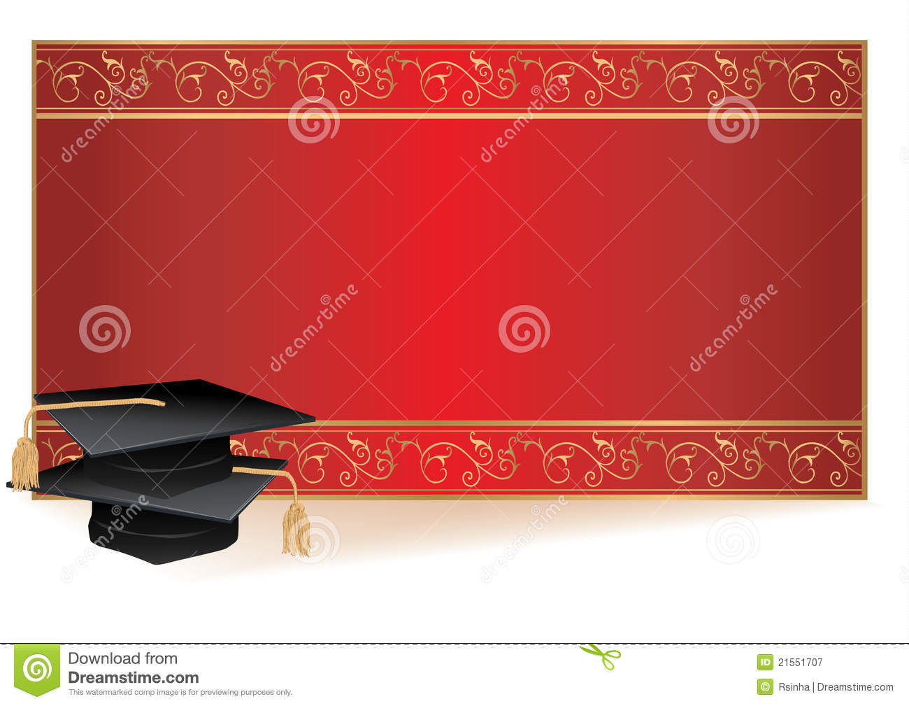 Graduation Invitation Card With Mortars Stock Vector Illustration