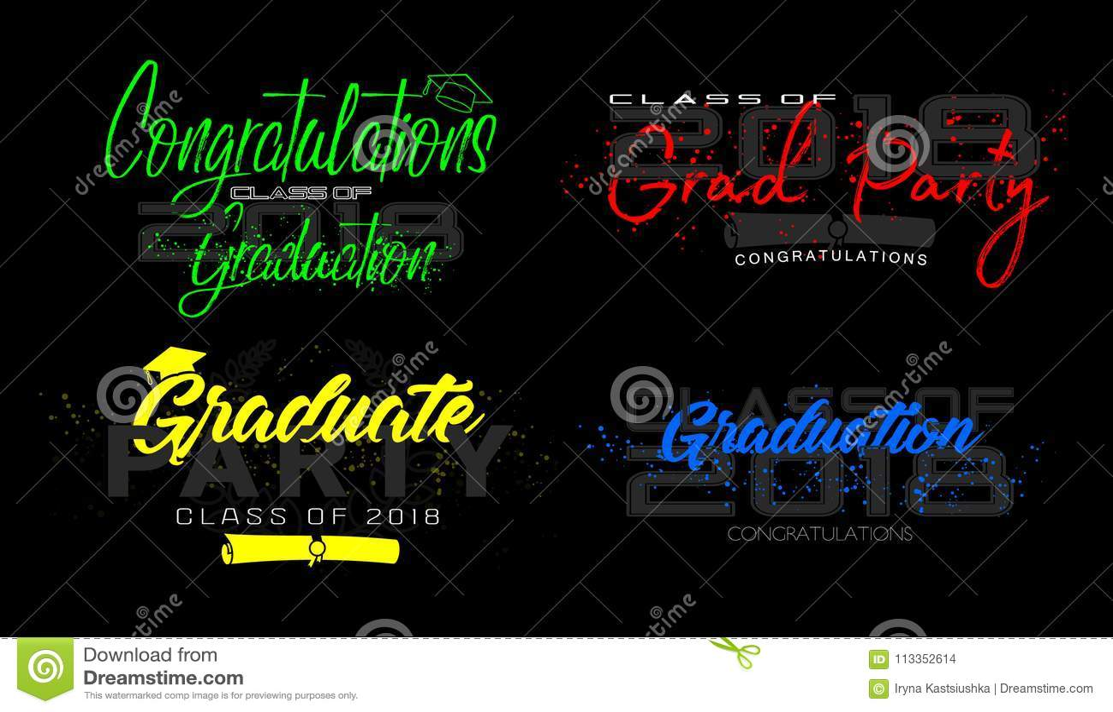 Graduation label. Vector. Set
