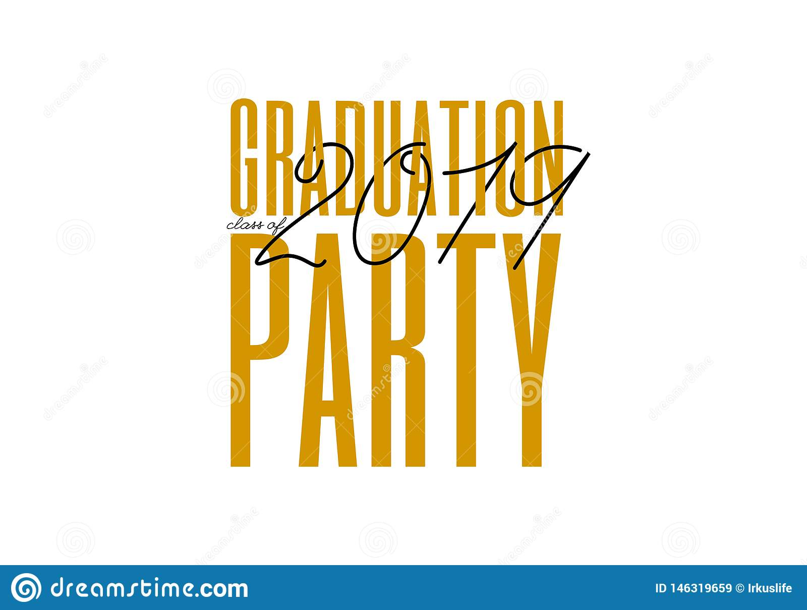 Graduation label. Vector text for graduation design, congratulation event, party, high school or college graduate