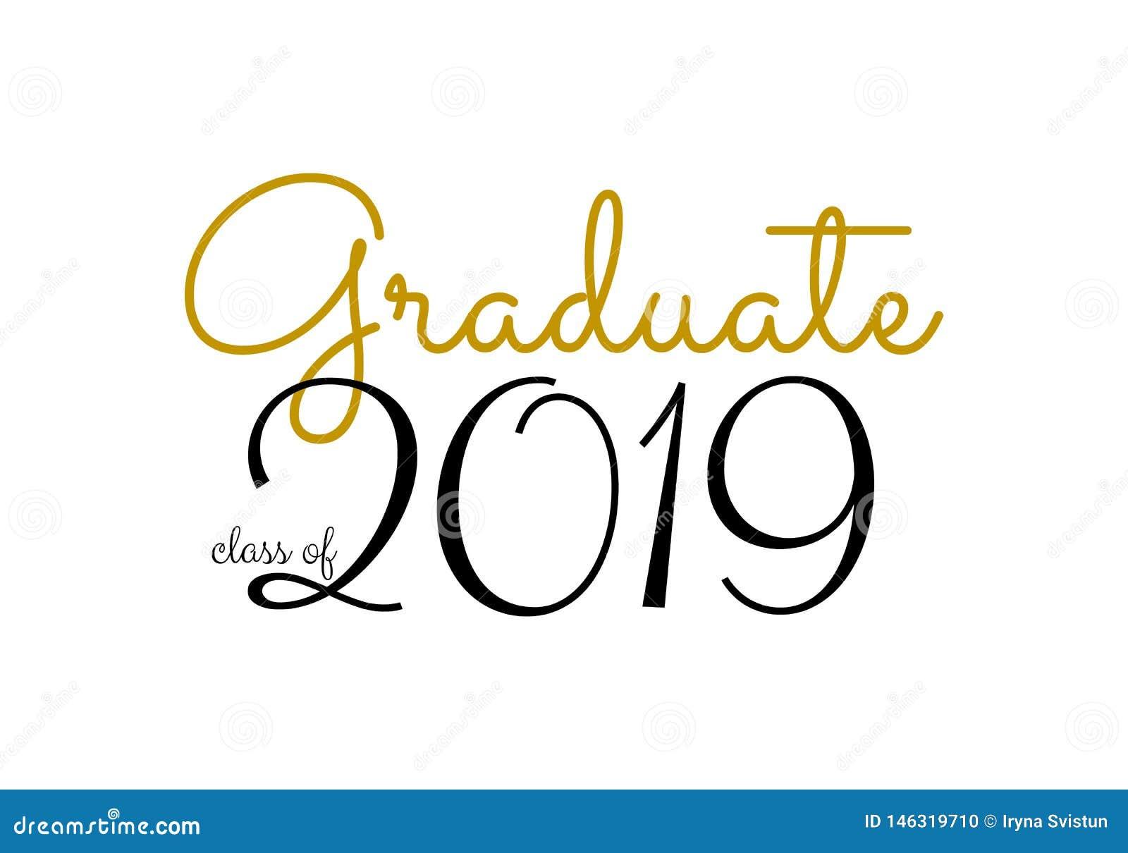 Graduation label. Vector text for graduation design, congratulation event, party, high school or college graduate