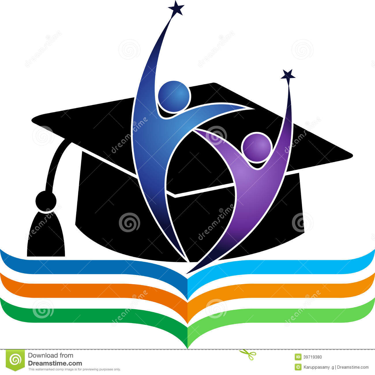 Illustration art of a graduation logo with isolated background.
