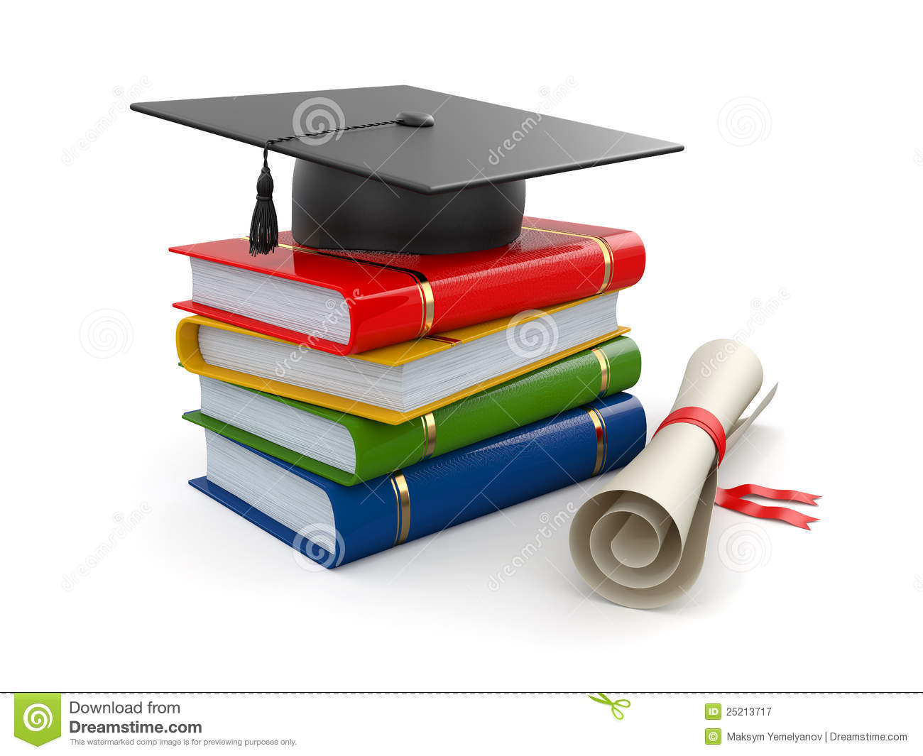House Plans Blueprints Graduation Mortarboard Diploma And Books 3d Royalty